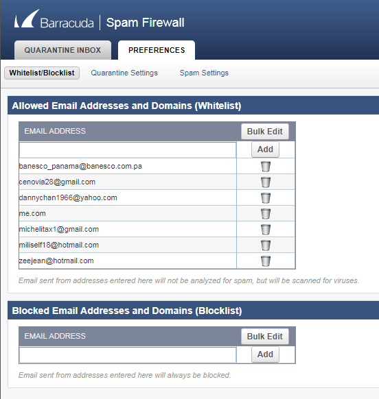 Whitelist email in Barracuda Spam Firewall - Hosting ca
