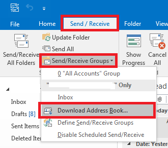 how to download your offline address book in outlook